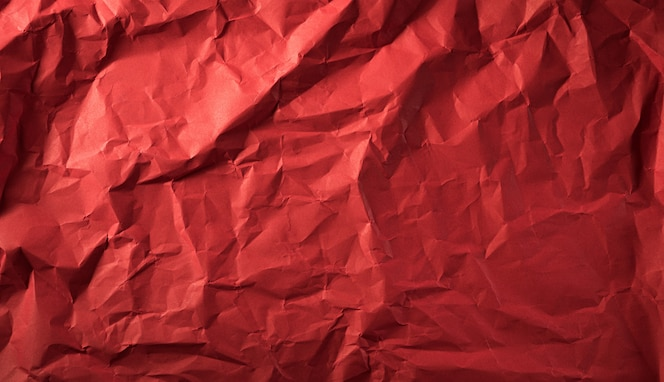 Textura de papel rojo arrugado