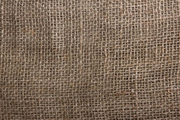 La textura del primer plano de arpillera gruesa