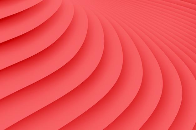 Textura de rayas blancas divergentes. ilustración 3d de color coral vivo
