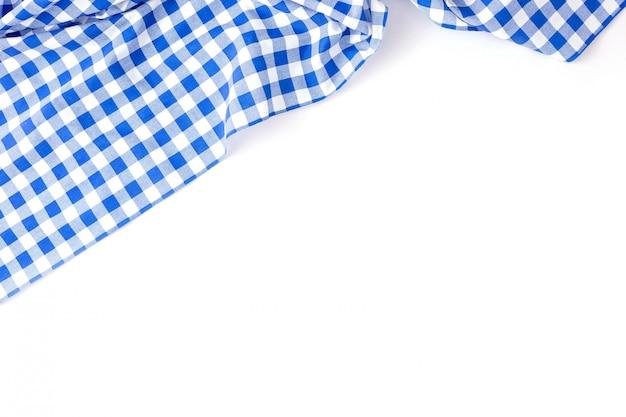 Textura de tela de mesa azul sobre blanco