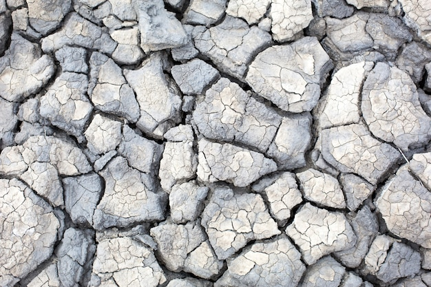 La textura de la tierra agrietada gris, arcilla volcánica seca con grietas. ultimate grey. fondo natural, copyspace