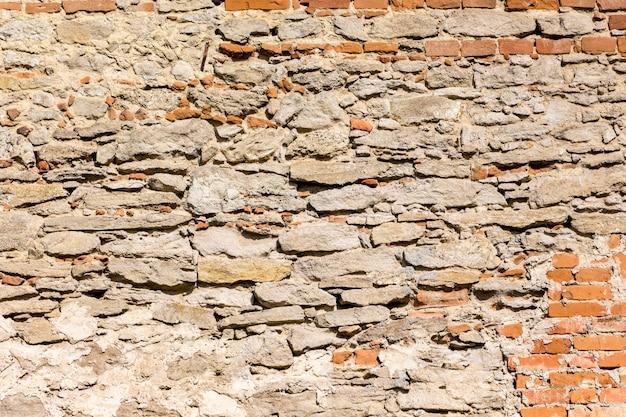 La textura de una vieja pared de piedra y ladrillo