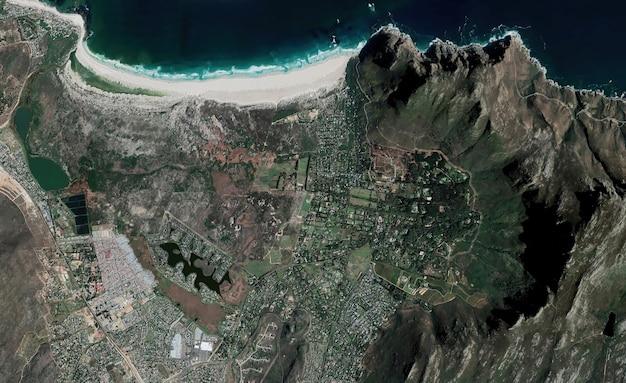 Textura de vista superior de satélite sobre ciudad del cabo