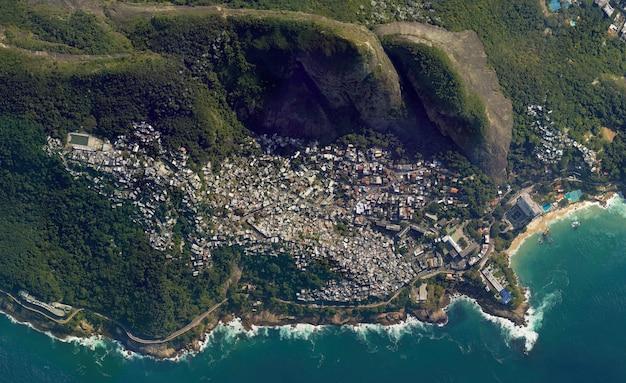 Textura de vista superior de satélite sobre río de janeiro
