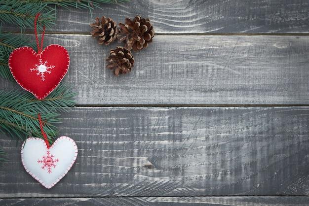 Tiempo de navidad en tablones de madera.