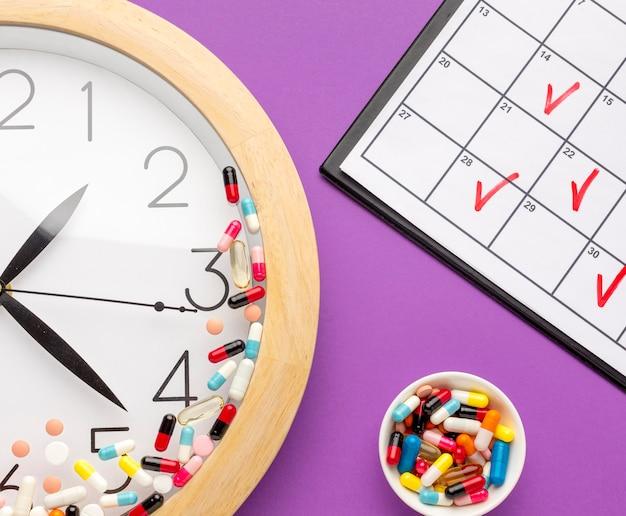 Tiempo de pastillas de primer plano