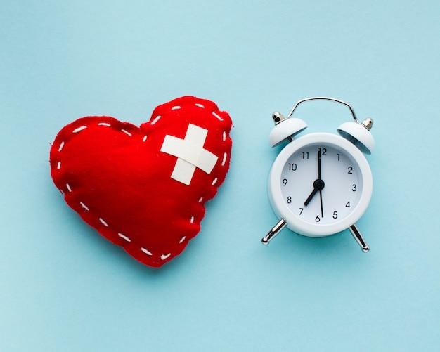 Tiempo para la vista superior del concepto de curación