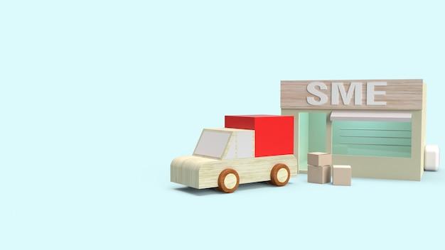 Tienda y caja para transportar representación 3d para el concepto de sme.