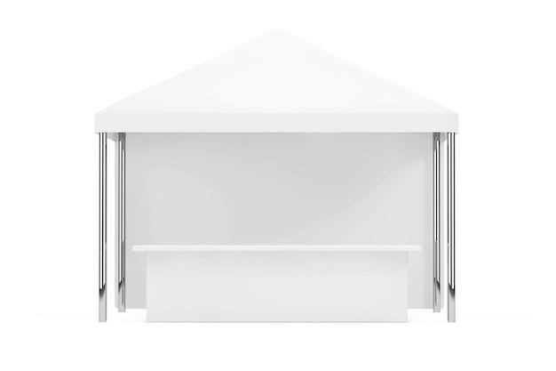 Tienda de campaña publicitaria móvil al aire libre con toldo sobre un fondo blanco. representación 3d