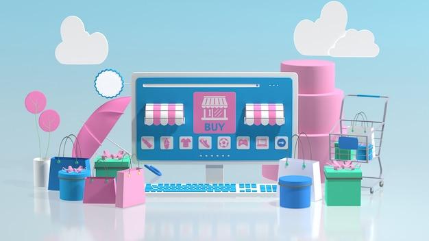 Tienda de comercio electrónico en línea 3d con espacio de copia