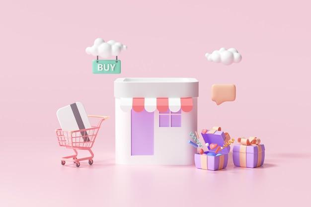 Tienda de compras en línea 3d, marketing digital, compra en línea y concepto de pago en línea. fondo de banner 3d.