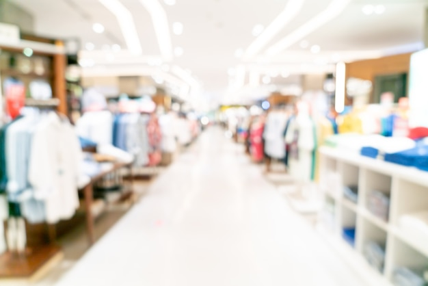 Tienda de desenfoque abstracto y tienda minorista en el centro comercial para el fondo