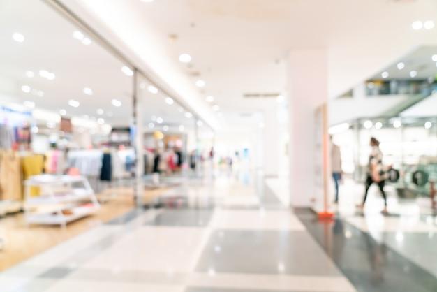 Tienda de desenfoque abstracto y tienda minorista en el centro comercial de fondo