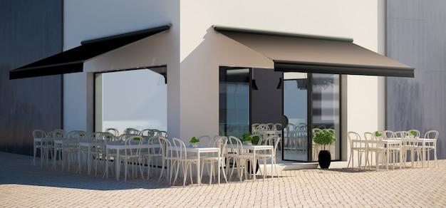 Tienda de fachada de café con maqueta con vista a la terraza