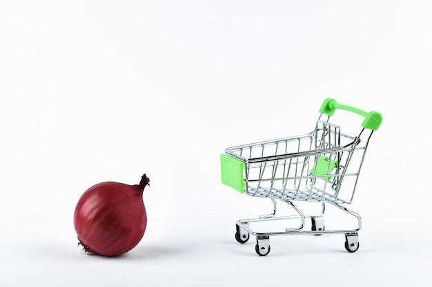 Tienda en linea. cesta y cebolla roja sobre blanco