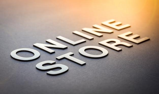 Tienda en línea de word escrita con letras blancas sólidas