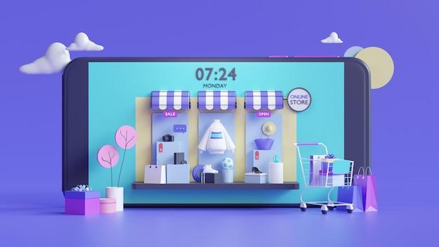 Tienda online de compras en concepto de aplicación móvil en representación 3d