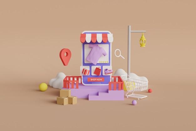 Tienda online renderizado 3d Foto Premium
