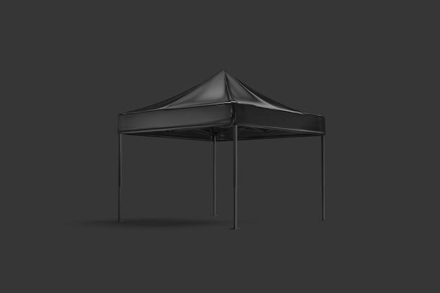 Tienda de toldo emergente negro en blanco simulacro