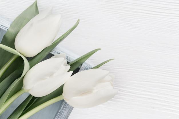 Tiernos tulipanes blancos en caja en mesa de madera con espacio de copia para su texto o felicitaciones. tarjeta de felicitación para el concepto de tiempo de primavera. colores tiernos. formato vertical, vista desde arriba.