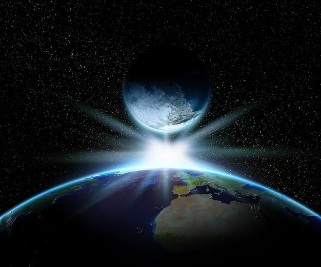 Tierra 3d y planeta de fantasía con estrella brillante.