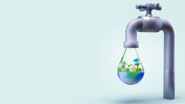 La tierra en la gota de agua para el día mundial del agua o el concepto de ecología representación 3d.