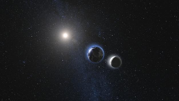 Tierra y luna girando y acercándose en espacio abierto