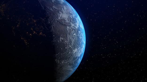 Tierra con salida del sol en el horizonte por la representación 3d.