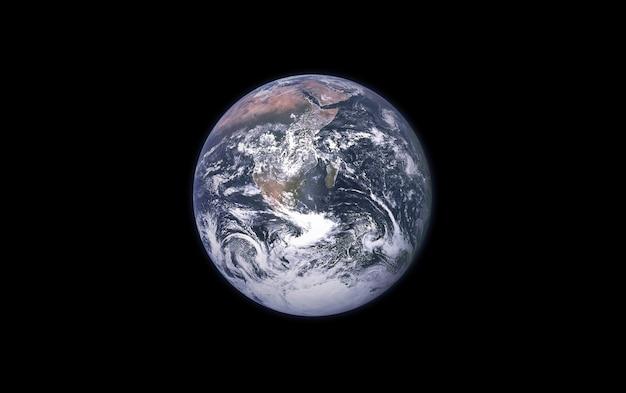 Tierra sobre un fondo negro aislado