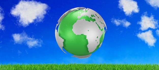 Tierra verde en el cielo azul