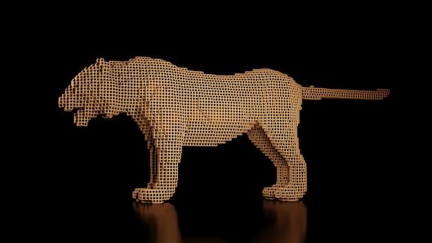 Un tigre hecho de muchos cubos en un espacio negro uniforme. constructor de elementos cúbicos. arte del mundo de los animales salvajes en el rendimiento moderno. representación 3d