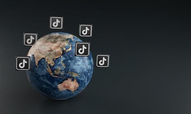 Tiktok logo icono alrededor de la tierra. concepto de aplicación popular.