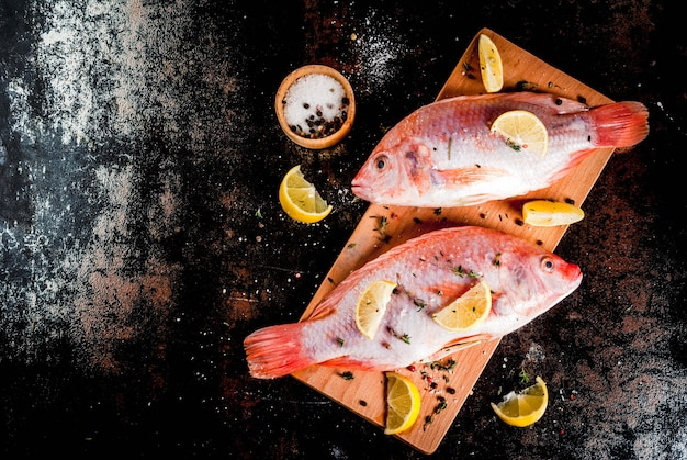 Tilapia rosada de pescado crudo fresco con especias para cocinar limón, sal, pimienta, hierbas, sobre una mesa de metal oxidado negro, vista superior