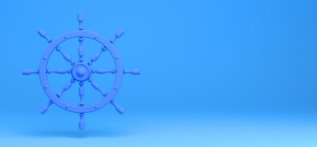 Timón de barco sobre fondo azul. bandera. abstracto. ilustración 3d.