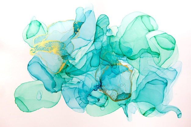 Tinta de alcohol azul y fondo abstracto dorado. textura de acuarela de estilo oceánico.