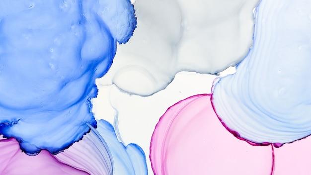 Tinta de alcohol. obra de mármol azul. obra de arte líquido púrpura. ilustración sofisticada. fluido de acuarela gris. lienzo descolorido moderno. diseño rosa. pintura etérea abstracta. tinta de alcohol blanca.