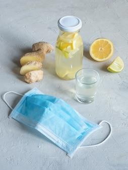 Tintura antiviral de alcohol con raíz de limón y jengibre, fortalecimiento del concepto de inmunidad.