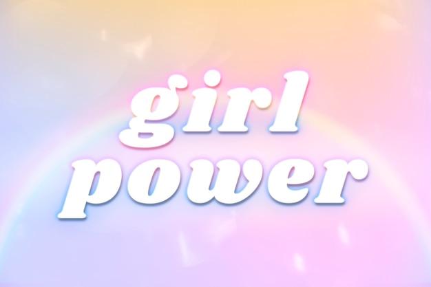 Tipografía estética de girl power en fuente de arco iris que brilla intensamente colorido