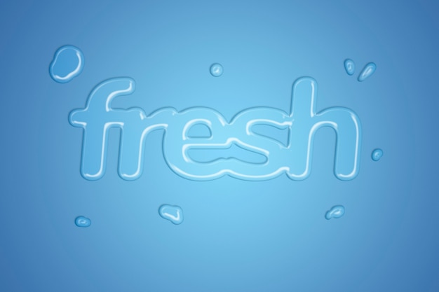 Tipografía de estilo de salpicaduras de agua dulce sobre fondo azul degradado