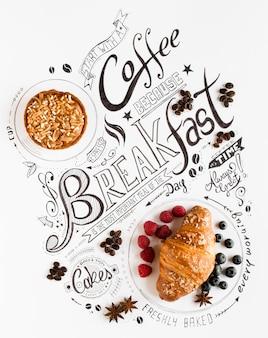 Tipografía de letras de desayuno dibujado a mano