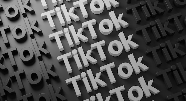 Tipografía múltiple de tiktok en la pared oscura, representación 3d