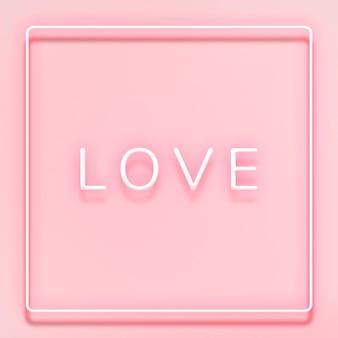 Tipografía de neón amor brillante