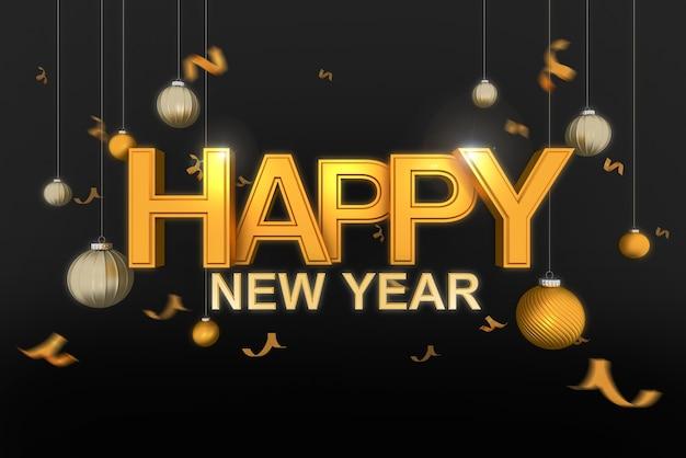 Tipografía de oro feliz año nuevo con bola de navidad y confeti dorado sobre fondo negro., render 3d.