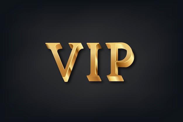 Tipografía vip en fuente dorada 3d