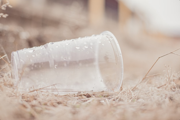 Tirar una taza de plástico del agua durante un festival o partido deportivo