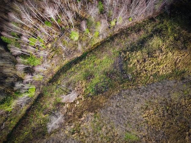 Tiro de ángulo alto de un campo parcialmente seco debido a los cambios climáticos