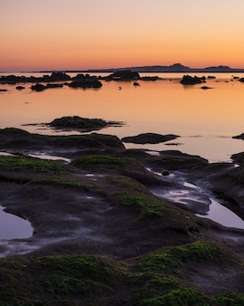 Tiro de ángulo alto vertical de las rocas cubiertas de musgo en la orilla durante la hora dorada