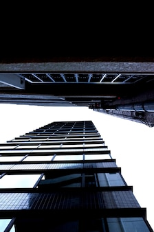 Tiro de ángulo bajo de dos grandes rascacielos de la ciudad