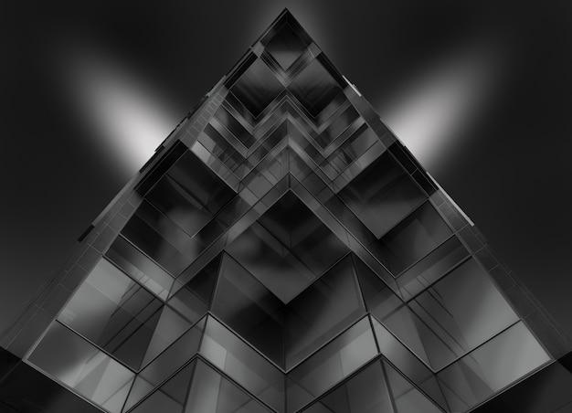Tiro de ángulo bajo en escala de grises de un edificio de vidrio en forma de pirámide