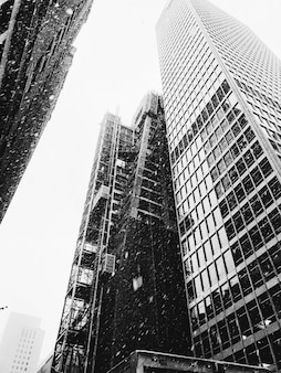 Tiro de ángulo bajo vertical en escala de grises de edificios de gran altura mientras nieve